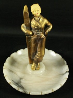 Bronze And Marble Figural Ashtray