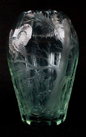 Moser Faceted And Engraved Glass Dichroic Vase Circa