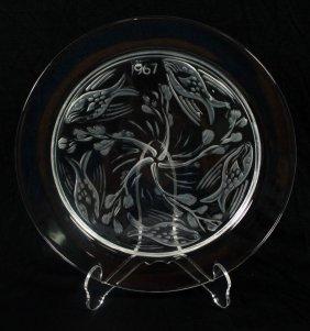 """Antique Lalique Collector Plate"""" Fish Ballet-1967"""","""