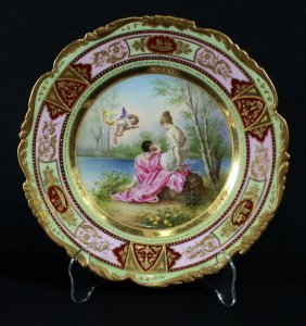 Royal Vienna Porcelain Plate, Marked Circa 1895.