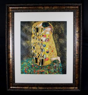 """Framed Oil On Board """"abstract Couple Scene"""" Signed"""