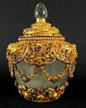 A Southeast Asian Rock Crystal Gilt Bronze & Jewel