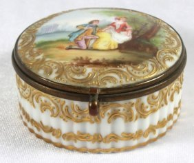 Antique Meissen Style Porcelain Covered Box