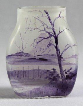 Daum Nancy Enameled Flat Sided Miniature Vase Unsigned