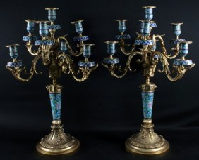 Pair Of French Dore Bronze And Champleve 7 Light