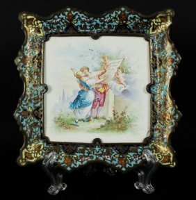 French Enamelled Ring Tray, C.1890 , Signed, Pinel