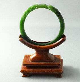 Translucent Deep Green Jade Dragon Bangle