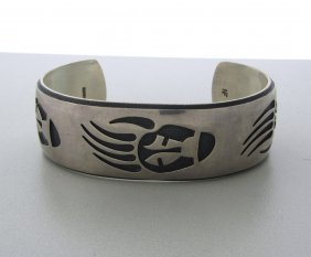 Native American Hopi Nathan Fred Sterling Bracelet