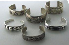 Native American Sterling Bracelet Lot Of 6