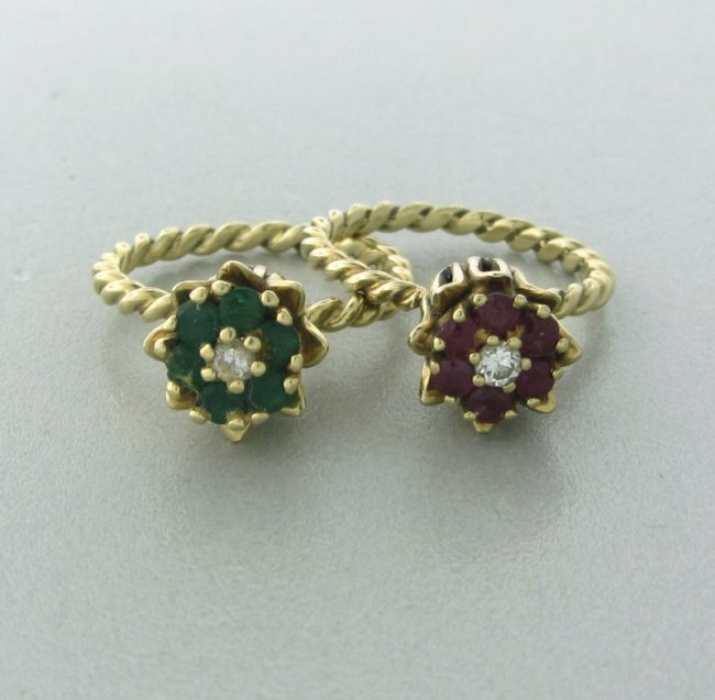 Vintage 14k Gold Tulip Ruby Sapphire Diamond Rings Lot 453