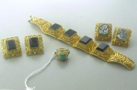 Gemstone Vermeil Bracelet Earrings Ring Lot