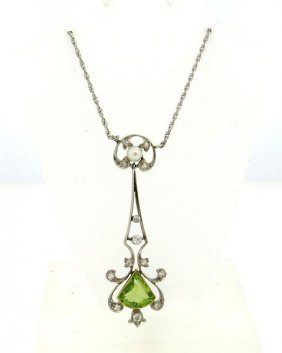 Art Deco Gold Diamond Peridot Pearl Lavalier Necklace