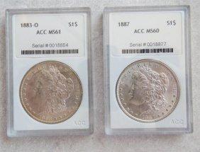1887 1883 O Silver Morgan Dollar Us Coin Lot Of 2