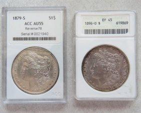 1896 O 1879 S Silver Morgan Dollar Us Coin Lot Of 2