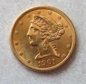 1901 Liberty Head Gold Half Eagle 5 Dollar Us Coin