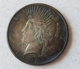 1928 Silver Peace Dollar Us Coin