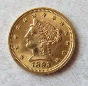 1893 Liberty 2.5 Dollar Gold Us Coin