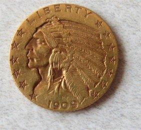 1909 Indian Head 5 Dollar Gold Us Coin