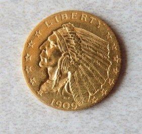1909 Indian Head 2.5 Dollar Gold Us Coin
