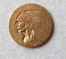 1915 Indian Head 2.5 Dollar Gold Us Coin