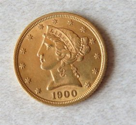 1900 Liberty Head 5 Dollar Half Eagle Gold Us Coin