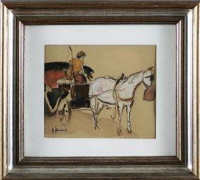VINCENZO ROMANELLI - Carrozzella Con Cavallo Bianco