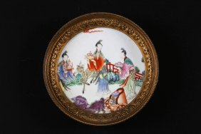 Arte Cinese A Small Famille Rose Pottery Within A Gilt