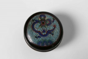 Arte Cinese A Small Cloisonné Round Box China, Qing