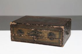Arte Cinese Lacquer Sewing Chest Decorated With