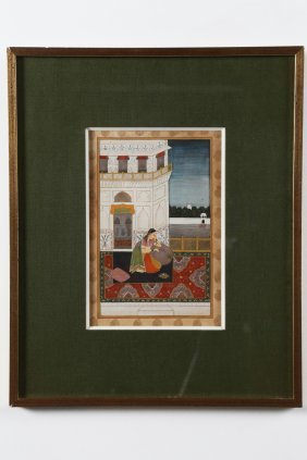 Arte Indiana A Miniature Of A Lady On A Terrace India,