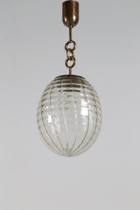 Venini Chandelier With A Clear Rippled Glass Bowl And