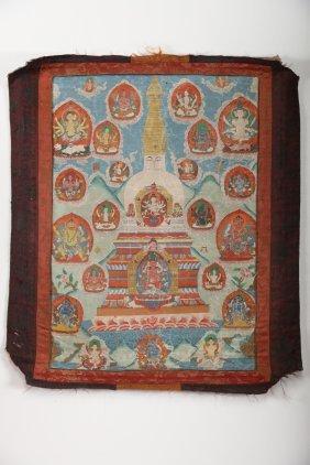 Arte Himalayana Thangka Depicting A Stupanepal, 19th
