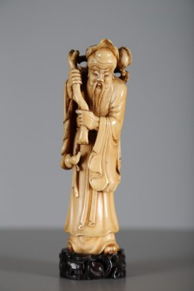 Arte Cinese A Carved Ivory Figure Of Immortal Sau On