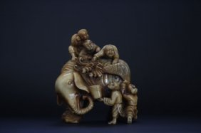 Chinese Jade Elephant, With Five Child Giving Shower
