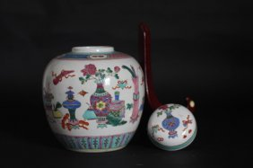 Chinese Antique Jar With Flower Vase Painting