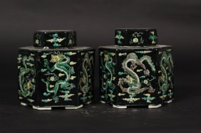 Qing Dynasty Pair Of Pot, Color Black, With Dragon Art