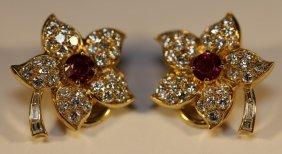 "18kyg-diamond-ruby ""julius Cohen"" Ny Earrings"