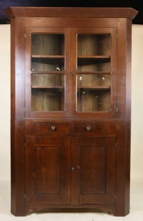 American Primitive Walnut Corner Cabinet