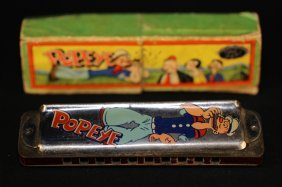 Popeye 1929 Antique Harmonica With Box