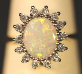 14kyg, Opal & Diamond Vintage Cocktail Ring