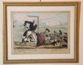 Framed Antique Political Reform Colored Engraving