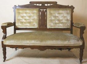 Victorian Walnut Antique Eastlake Walnut Love Seat