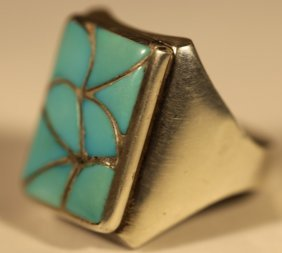 "Sterling Silver & Tyrquoise ""zuni"" Elb Ring"
