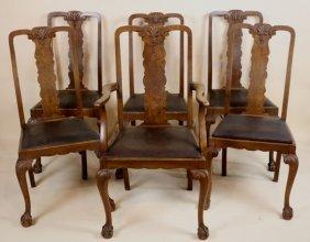 English Antique Burl Walnut Dinning Room Chair Set
