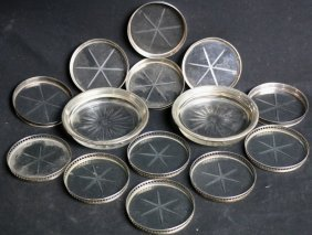 Sterling Silver Wine & Glass Coaster Grouping