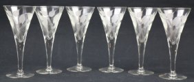 Vintage Hand Cut Glass Crystal Champagne Stem Set