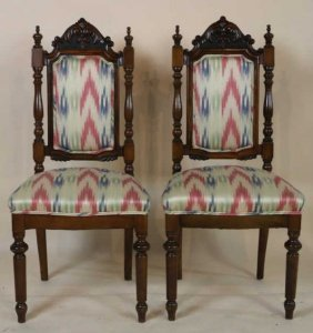 Mahogany Hand Carved Flamed Sticthed Side Chairs