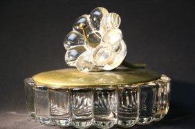 Crystal Ladies Vanity Box W/ Flower On Bronze Lid