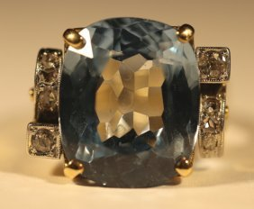 14kyg, Aquamarine Cushion Cut & Diamond Ring