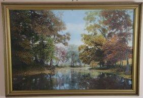 Framed Landscape Pastel Under Glass